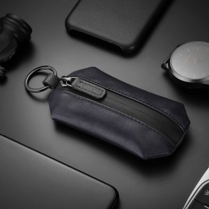 New-Bring Slim Genuine Leather Key Holder Organizer Wallet Keychain Men Women Key Bag Pouch (Blue)