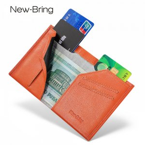 New-Bring Men's RFID Blocking Slim Leather Wallet Small Bifold Front Pocket Wallet Minimalist Credit Card Holder, Orange