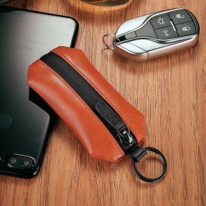 New-Bring Slim Genuine Leather Key Holder Organizer Wallet Keychain Men Women Key Bag Pouch (Orange)