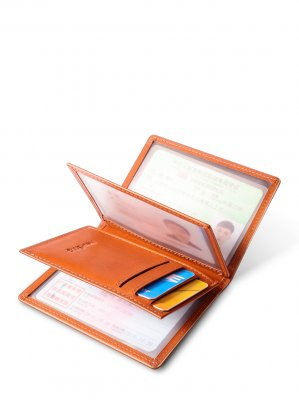New-Bring Drivers License Card Holder RFID Blocking Mens Leather Wallet for Credit Cards and Cash with ID Window, Orange