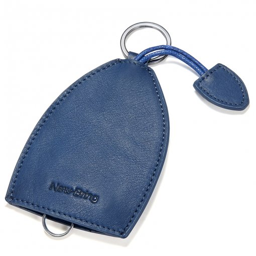 NewBring Leather Car Key Holder Key Ring Wallets Bell-Shaped Collector Housekeeper Wrist Lanyard Pocket Key Organizer Keychain, Blue