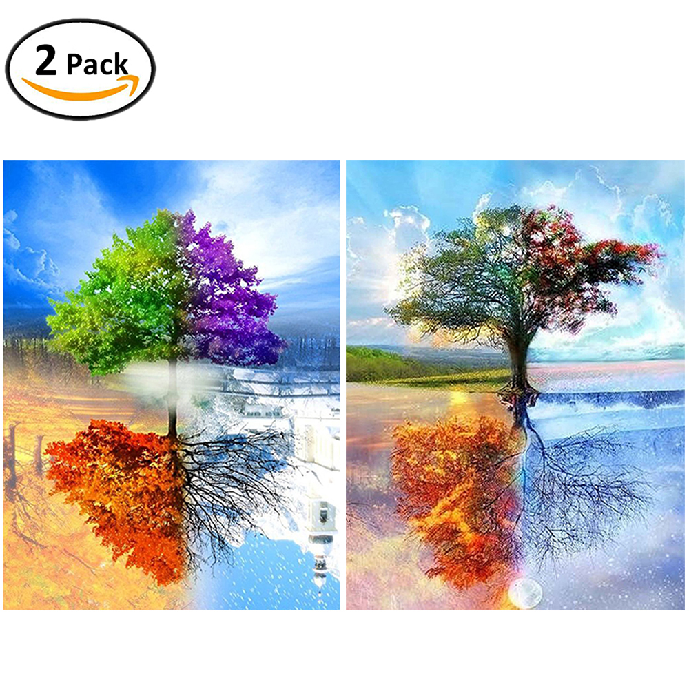 2 Packs 5D DIY Diamond Painting-Four Season Tree of Life