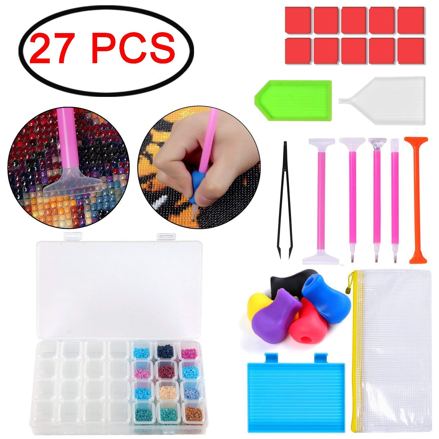 Futohon 27PCS Diamond Painting Tools Diamond Cross Stitch Tool with Ergonomic Pencil Grip,Diamond Stitch Pen,Tweezers,Plastic Tray,Glue and 28 Slots Diamond Embroidery Box for DIY Art Craft
