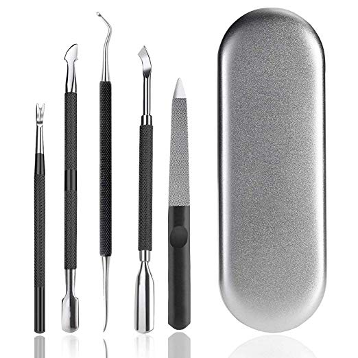 Ejiubas Cuticle Remover Tool Kit Cuticle Pusher Cuticle Trimmer Nail File Nail Lifter 5PCS Manicure Peidure Tools for Fingernails & Toenails