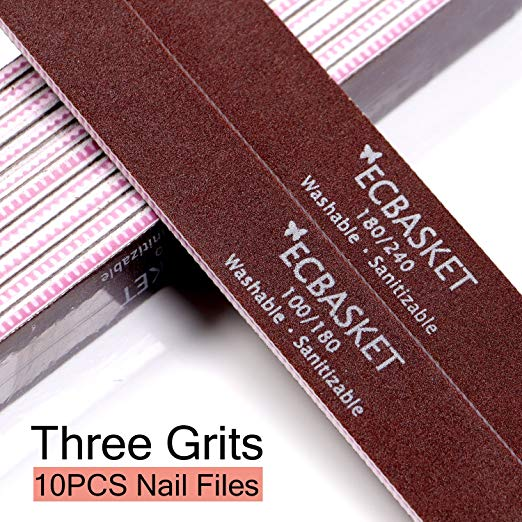 Ecbasket Nail File Emery Boards For Nails Acrylic Files 100 180 240 Grits Washable Double Sided Gel 10pcs