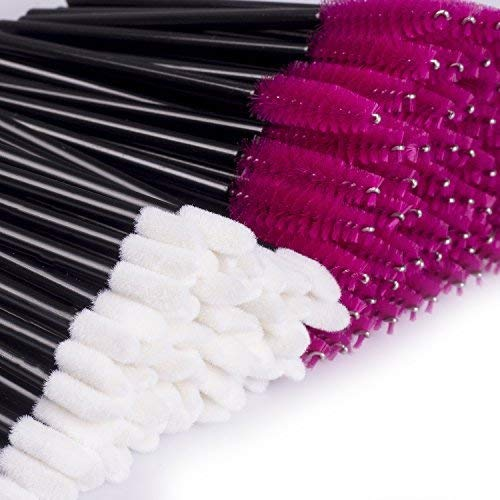 200PCS Disposable Makeup Applicators Disposable Mascara Wands & Lip Gloss Lipstick Wands Kit Lintfree Make Up Tester Wand Applicator Black & Pink