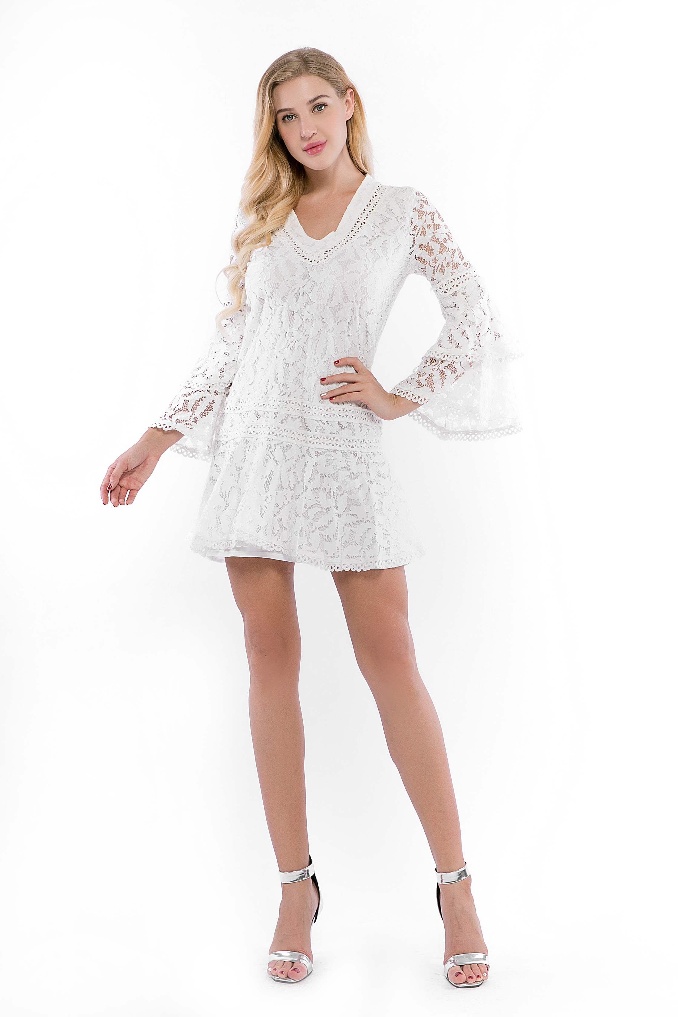 Lace Cocktail Dress V-Neck