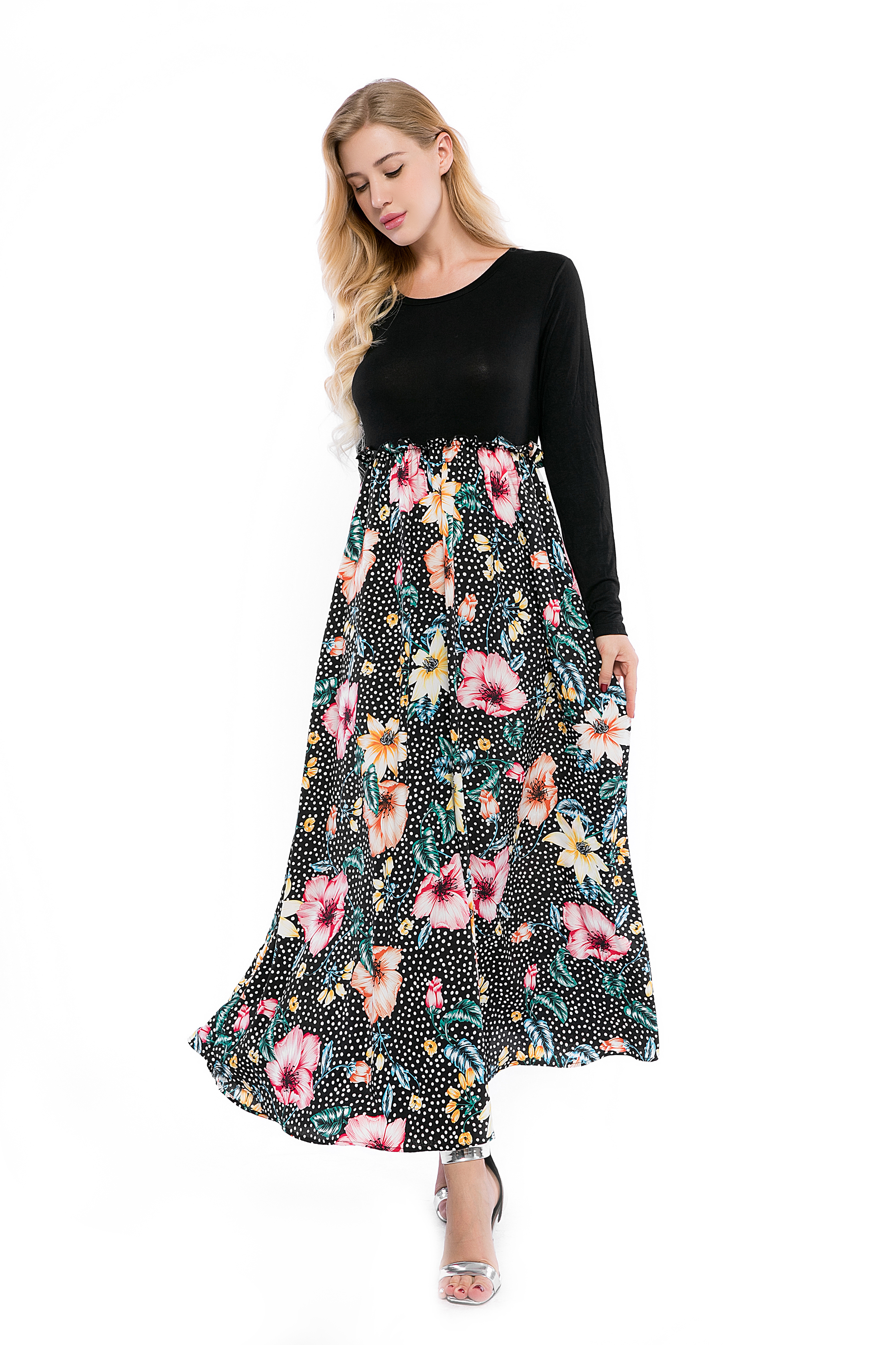 Casual Maxi Dress Soft Floral Print