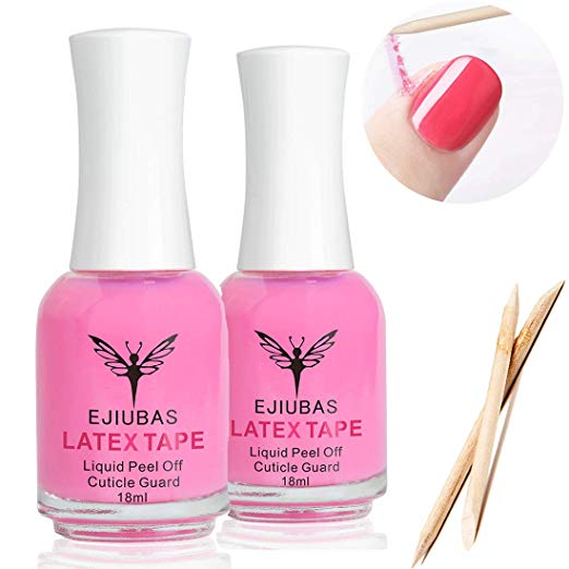 Liquid Latex for Nails - Ejiubas Peel Off Latex Tape Cuticle Guard Mess Free Skin Barrier for Manicure & Pedicure with 10pcs Wooden Sticks
