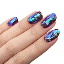 10 Packs Mixed Color Reflective Mirror Design Glass Piece Broken Nail Sheet