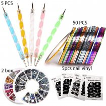 Nail Art Kit includes 50Pcs Nail Striping Tape & 5Pcs Nail Vinyl,5Pcs Dotting Pen Tool & 1Pcs Nail Rhinestones Decoration UV Gel Acrylic Nail Tools Set