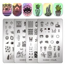 EJIUBAS+@laublm Ejiubas Stamping Plates 2 Pieces Nail Stamping Kits Double-sided Nail Templates Animal Plants G-EJ2-19
