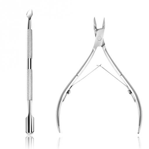 Ejiubas Cuticle Pusher Cuticle Nipper Surgical Grade Stainless Steel Cuticle Trimmer & Cuticle Remover Tool Set for Fingernails & Toenails Pedicure Manicure Tools