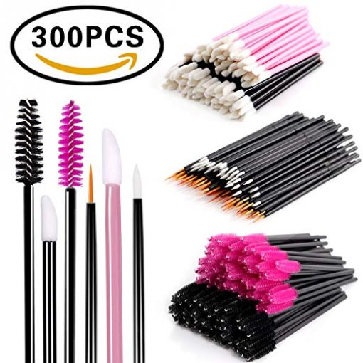 Disposable Makeup Applicator Mascara Wands & Lipstick Applicators & Eyeliner Brush 300PCS Daily Makeup Brushes Sets Kits 6 Styles  (Black)