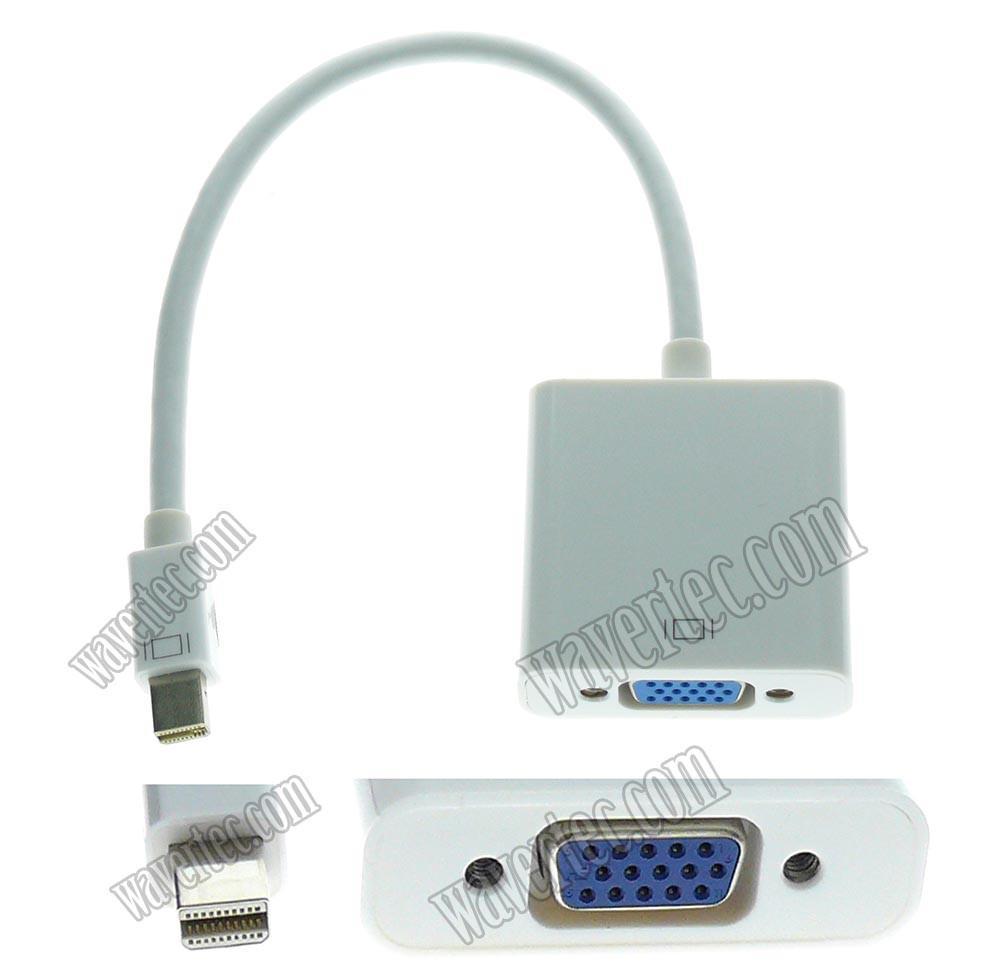 Wavertec Short Thunderbolt Mini DisplayPort to VGA Adapter Cable VGA Female