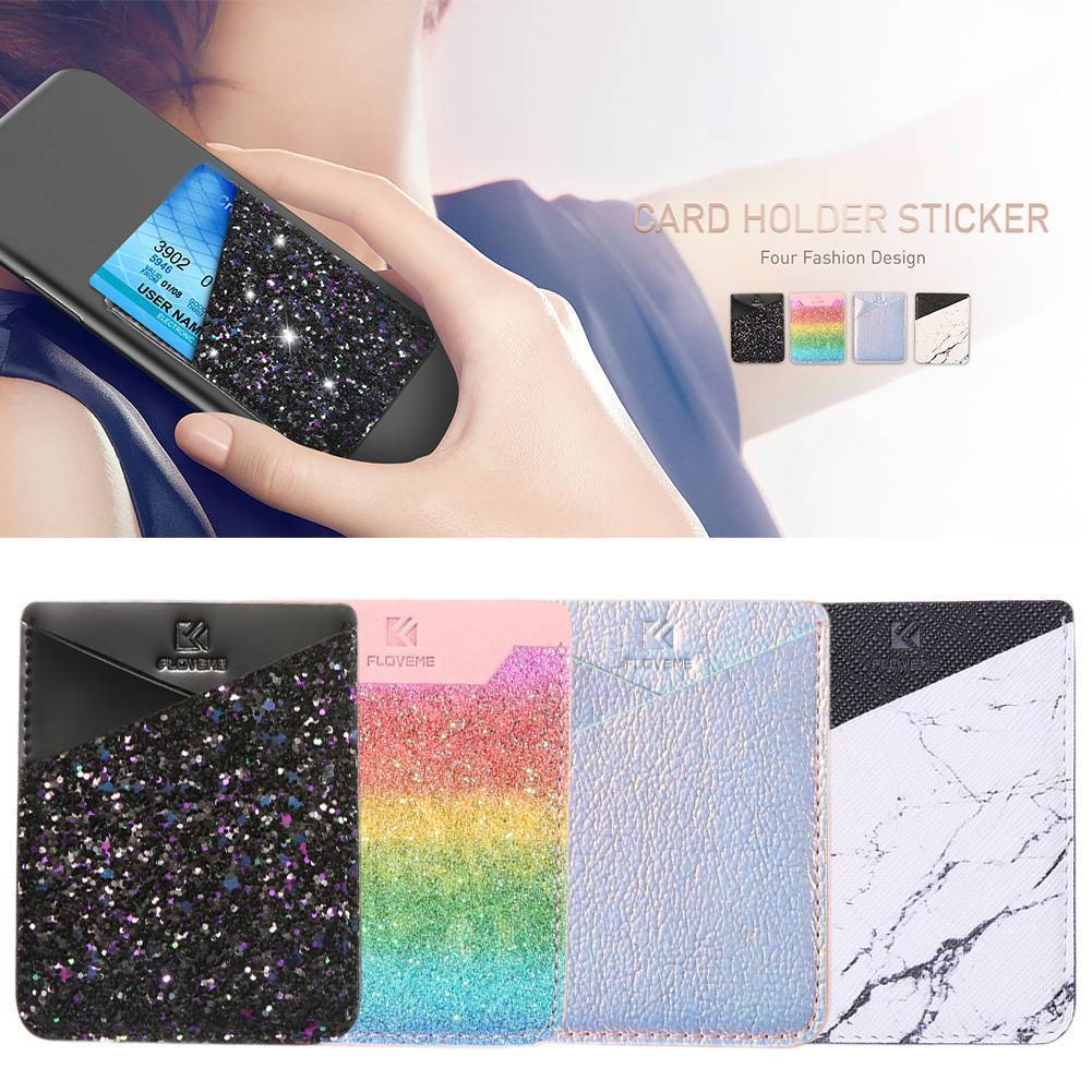 newest 3e409 4a017 Silicone Adhesive Sticker Pouch Wallet Credit Card Holder Sleeve For Cell  Phone