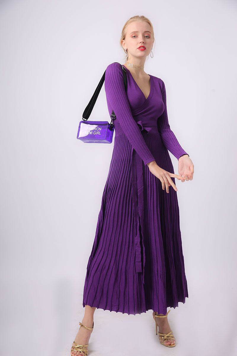 c818b3b30d US$ 65 - 【Heavy】V-neck Large Hem Knitted Maxi Dress - www ...
