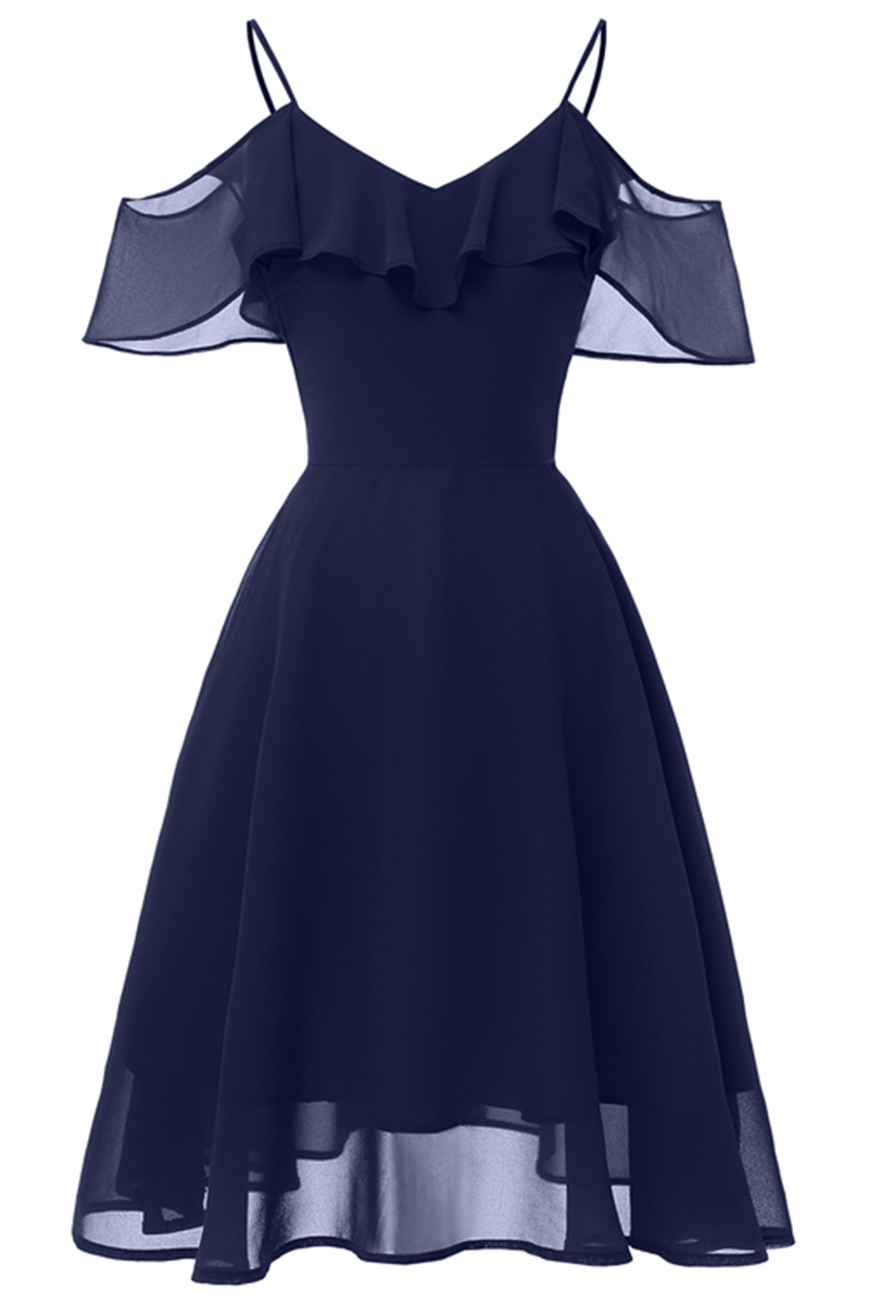 eaa1ce12192 US  46 - Ruffled Cold Shoulder Cocktail Dress - www.misscuties.com