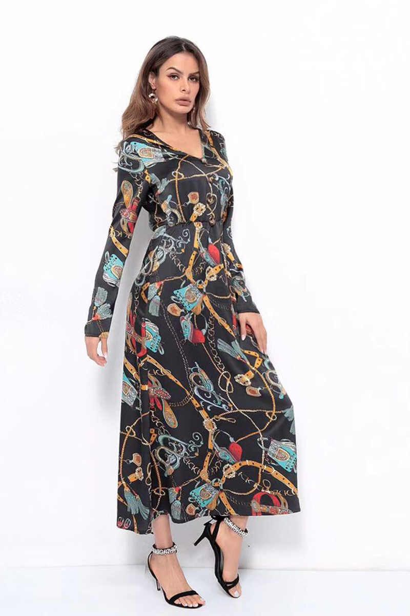 f6e512b74 US$ 40 - Graphic Print V Neck Twist Dress - www.misscuties.com
