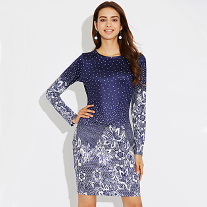 8c90a91aae4f US$ 14.99 - Women's Holiday Sheath Dress - Floral Blue, Print ...
