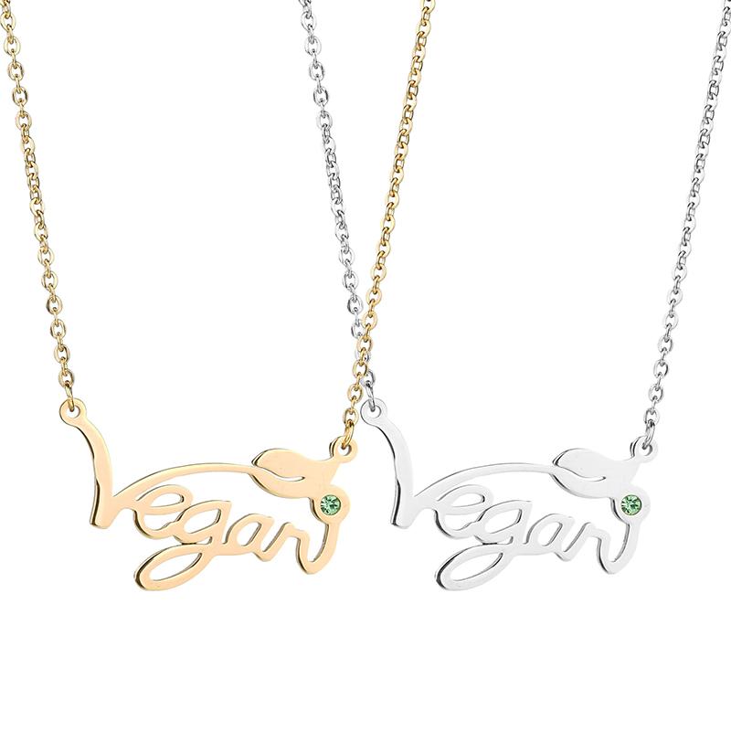 Vegan Symbol Pendant Necklace Sunsteelshop