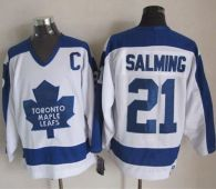 Toronto Maple Leafs -21 Borje Salming White Blue CCM Throwback Stitched NHL Jersey
