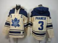 Toronto Maple Leafs -3 Dion Phaneuf Cream Sawyer Hooded Sweatshirt Stitched NHL Jersey