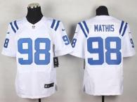 Nike Indianapolis Colts #98 Robert Mathis White Men's Stitched NFL Elite Jersey