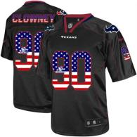 Nike Houston Texans #90 Jadeveon Clowney Black Men's Stitched NFL Elite USA Flag Fashion Jersey