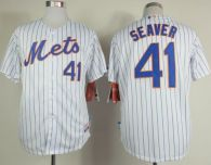 New York Mets -41 Tom Seaver White Blue Strip  Home Cool Base Stitched MLB Jersey