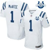 Nike Indianapolis Colts #1 Pat McAfee White With 30TH Seasons Patch Men's Stitched NFL Elite Jersey