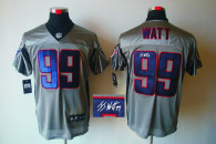 Autographed Nike Houston Texans #99 JJ Watt Grey Shadow Men's NFL Elite Jersey