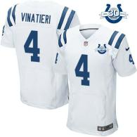 Nike Indianapolis Colts #4 Adam Vinatieri White With 30TH Seasons Patch Men's Stitched NFL Elite Jer
