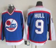 Winnipeg Jets -9 Bobby Hull Blue White CCM Throwback Stitched NHL Jersey