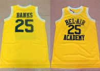 Bel-Air Academy -25 Banks Gold Stitched Basketball Jersey