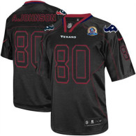 Nike Houston Texans #80 Andre Johnson Lights Out Black With Hall of Fame 50th Patch Men's Stitched N