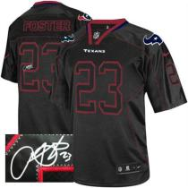 Nike Houston Texans -23 Arian Foster Lights Out Black Mens Stitched NFL Elite Autographed Jersey
