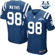 Nike Indianapolis Colts #98 Robert Mathis Royal Blue Team Color With 30TH Seasons Patch Men's Stitch