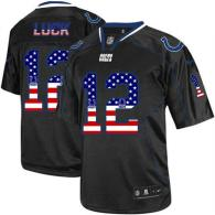 Nike Indianapolis Colts #12 Andrew Luck Black Men's Stitched NFL Elite USA Flag Fashion Jersey