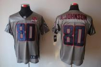 Nike Houston Texans -80 Andre Johnson Grey Shadow With 10th Patch Mens Stitched NFL Elite Jersey