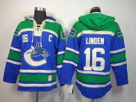 Vancouver Canucks -16 Trevor Linden Blue Sawyer Hooded Sweatshirt Stitched NHL Jersey