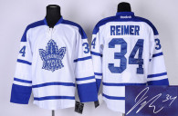 Autographed Toronto Maple Leafs -34 James Reimer White Third Stitched NHL Jersey