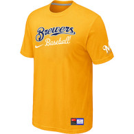 Milwaukee Brewers Yellow Nike Short Sleeve Practice T-Shirt