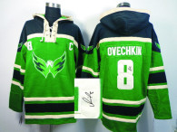 Autographed Washington Capitals -8 Alex Ovechkin Green Sawyer Hooded Sweatshirt Stitched NHL Jersey