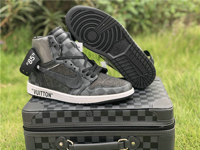 7a6363fa7a8 US  140 - Authentic Off White X LV x Air Jordan 1 Black - www ...