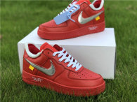 Authentic Off-White x Nike Air Force 1 Low Red-Silver GS