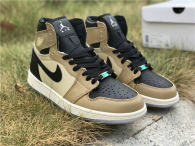 Authentic Air Jordan 1 Black/Fossil-Pale Ivory Noir