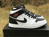 "Authentic Air Jordan 1 Mid ""Reverse Black Toe"""