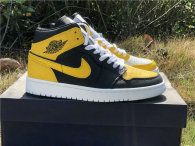 Authentic Air Jordan 1 Mid Black/Yellow/White GS