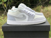 Authentic Ai Jordan 1 Low White/Sky Grey-Football Grey GS